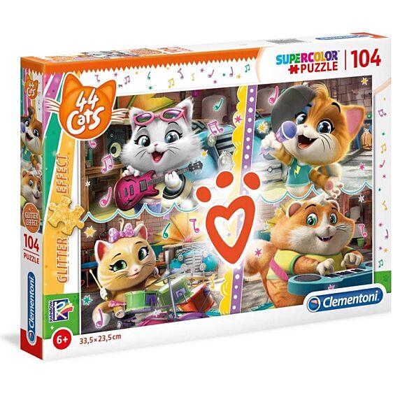 44 csacska macska csillámos 104 db-os puzzle - Clementoni - 1. kép