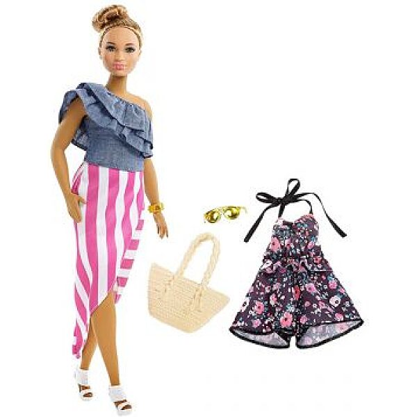 Barbie Fashionistas: Barna hajú molett Barbie 2 darabos ruhaszettel - 1. kép