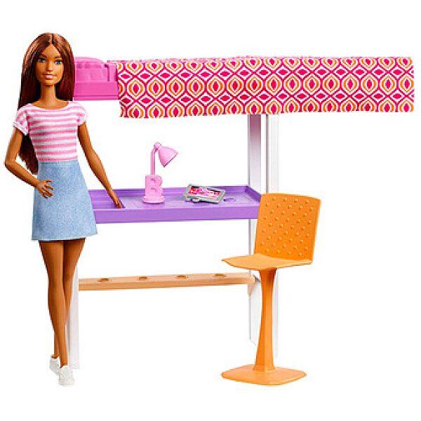 Barbie: Hálószoba bútorszett barna hajú Barbie babával - 1. kép