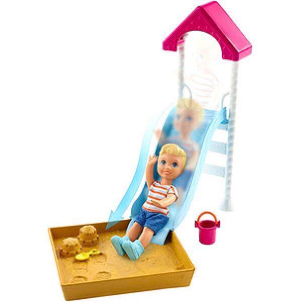 Barbie Skipper: bébiszitter kiegészítő szett - játszótér szőke hajú kisbabával - 1. kép