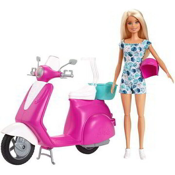 Barbie: Szőke hajú Barbie rózsaszín robogóval - 1. kép