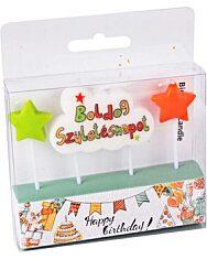 Boldog születésnapot gyertya - csillagos - 1. kép