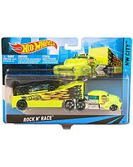 Hot Wheels City: Rock n Race sárga autószállító kamion - 1. kép