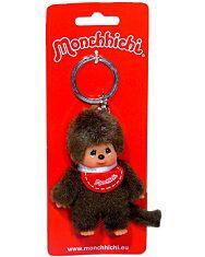 Monchhichi - fiú kulcstartó figura piros előkével - 10 cm - 1. kép