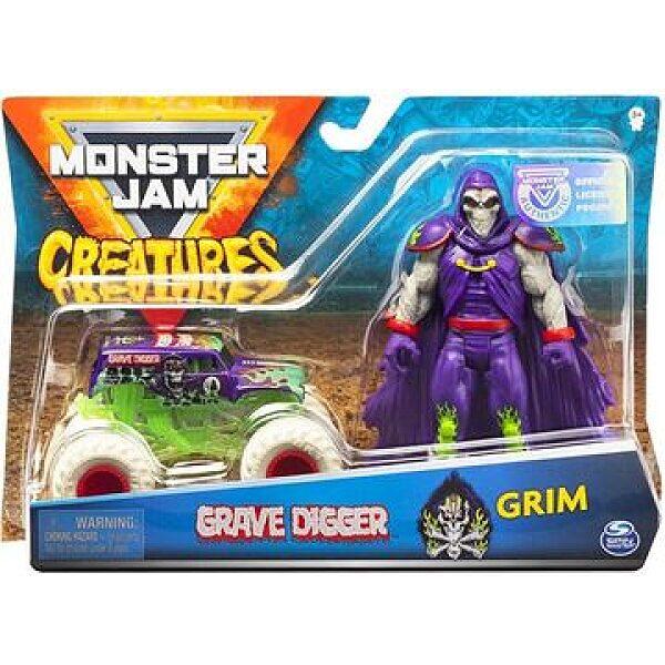 Monster Jam: Grave Digger kisautó Grim figurával - 1. kép