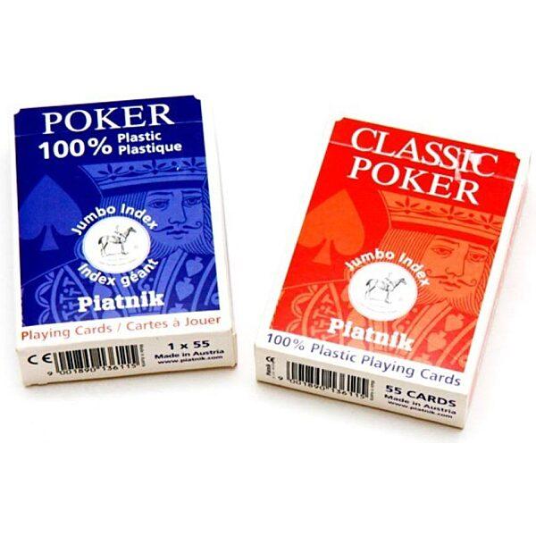 Plasztik póker kártya 1x55 lapos nagyindexel - 1. kép