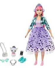 Barbie: Hercegnő kaland - Rózsaszín hajú molett baba kiscicával - 1. Kép