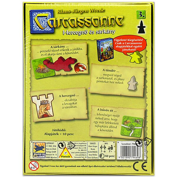 Carcassonne: a 3. kiegészítés - Hercegnő és sárkány társasjáték - 3. Kép