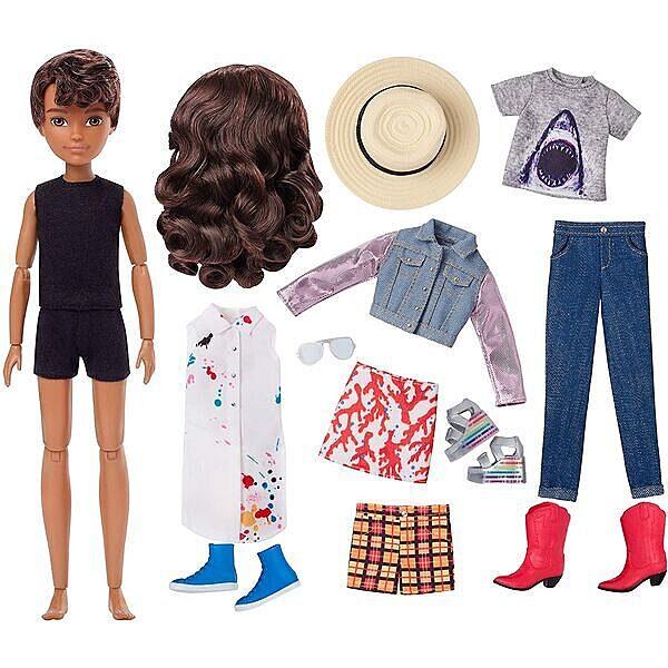 Creatable World: Barna bőrű öltöztethető baba 12 kiegészítővel - 2. Kép