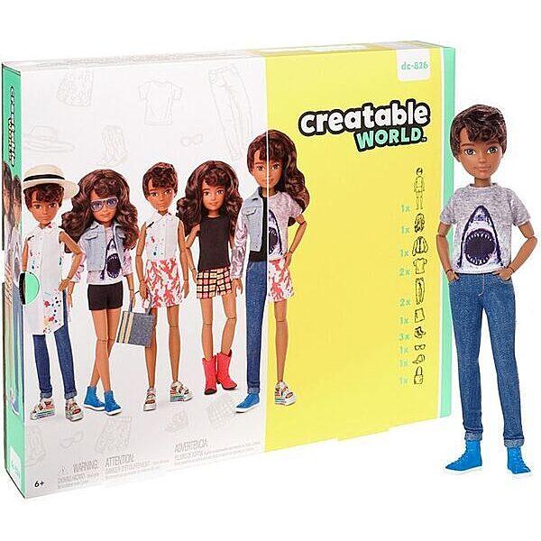 Creatable World: Barna bőrű öltöztethető baba 12 kiegészítővel - 1. Kép
