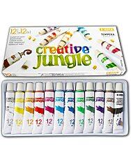 Creative Jungle 12 darabos tubusos tempera készlet kifestővel - 1. Kép