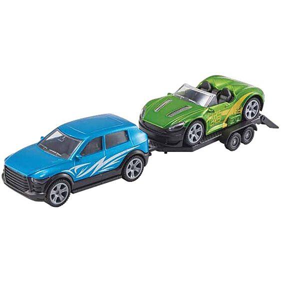 utánfutóval és kabrió sportkocsival - kék és zöld színben - 1. Kép