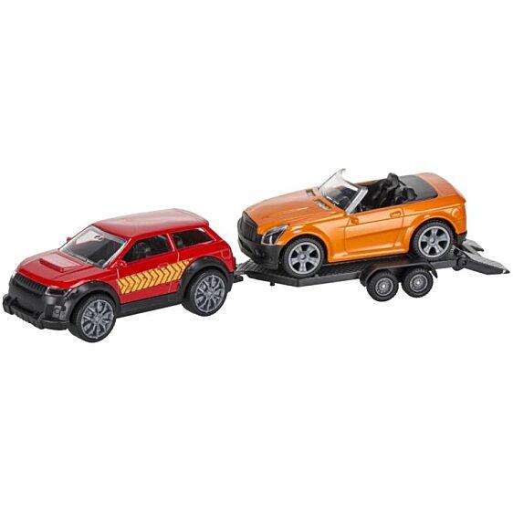 utánfutóval és kabrió sportkocsival - piros és narancs színben - 1. Kép