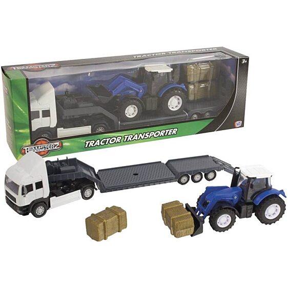 Kék traktor szállító fehér kamion (Teamsterz Tractor Transporter) - 3. Kép