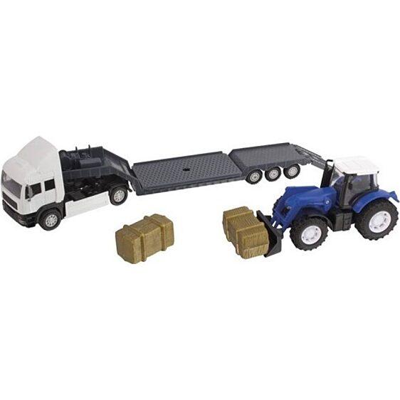 Kék traktor szállító fehér kamion (Teamsterz Tractor Transporter) - 1. Kép