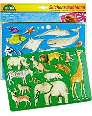 LENA: 2 db-os rajzolósablon - afrikai és tengeri állatok - 2. Kép