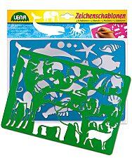 LENA: 2 db-os rajzolósablon - afrikai és tengeri állatok - 1. Kép