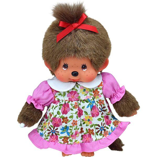 Monchhichi - lány figura tarka virágos ruhában - 20 cm - 5. Kép