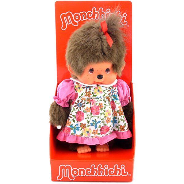 Monchhichi - lány figura tarka virágos ruhában - 20 cm - 1. Kép