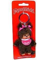 Monchhichi - lány kulcstartó figura rózsaszín előkével - 10 cm - 1. Kép