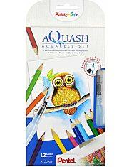 Pentel: Színes 12 darabos akvarell ceruza készlet vizes ecsettel - 1. Kép
