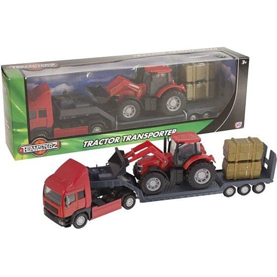 Piros traktor szállító piros kamion (Teamsterz Tractor Transporter) - 3. Kép