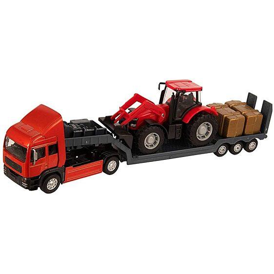 Piros traktor szállító piros kamion (Teamsterz Tractor Transporter) - 1. Kép