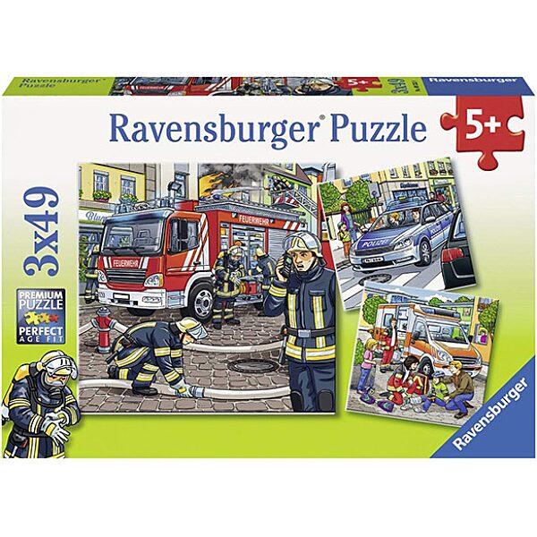 Ravensburger: szolgálati járművek 3x49 darabos puzzle - 1. Kép
