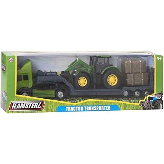 Zöld traktort szállító metál kamion (Teamsterz Tractor Transporter) - 3. Kép