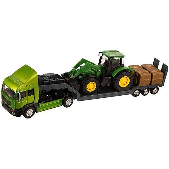 Zöld traktort szállító metál kamion (Teamsterz Tractor Transporter) - 1. Kép