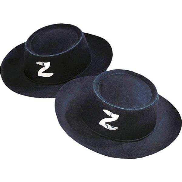 Zorro kalap - fekete - 1. Kép