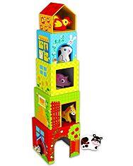Farmos toronyépítő kockák fa állatkákkal - 1. Kép