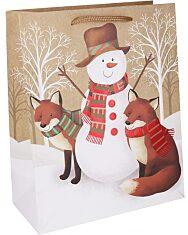 Hóember rókákkal ajándéktasak - 18 x 23 cm - 1. Kép