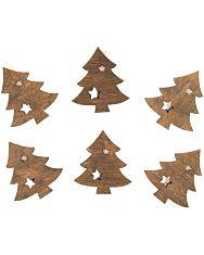 Karácsonyfa csipeszen 6 db - 4 cm - 1. Kép