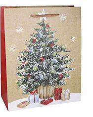 Karácsonyfa mintás ajándéktasak - 11 x 14 cm - 1. Kép
