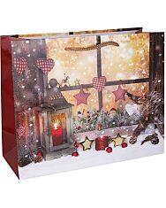 Karácsonyi ablak mintás fekvő ajándéktasak - 14 x 11 cm - 1. Kép