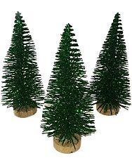 Zöld fenyőfa glitteres fa talppal - 10 cm