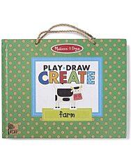 Melissa & Doug Kreatív játék, Letörölhető rajzoló és mágneses játékkészlet - Farm