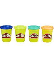 4 darabos Play-Doh gyurma szett. Sötétkék, Zöld, Türkizkék és narancssárga színekben.