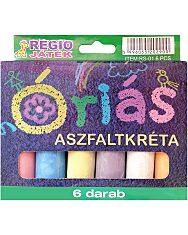 Óriás aszfaltkréta 6 darabos készlet - vegyes színek - 1. Kép